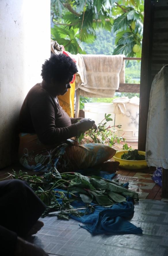 Mama prepares lunch.
