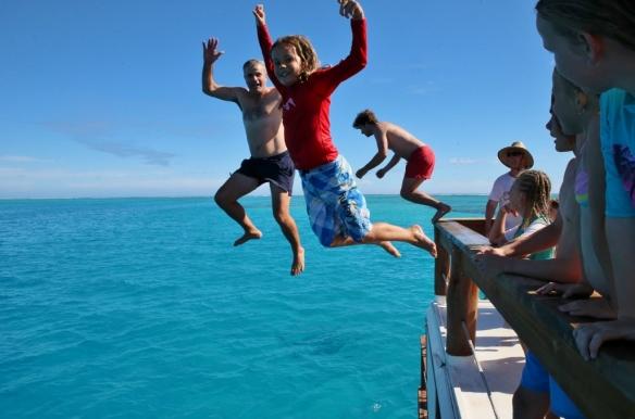 Boys jump.